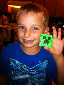 Working on Minecraft Perler Beads.