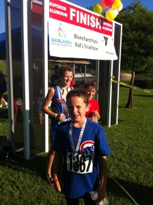 Finished the kids tri!