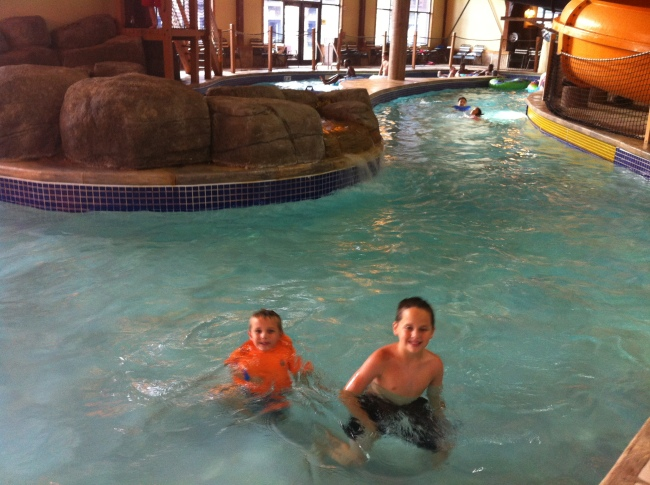 In the lazy river at the Great Wolf Lodge.