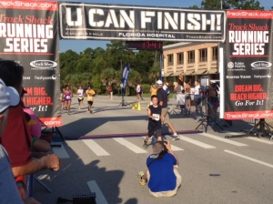 Crossing the finish line at the UCF 2-mile race.