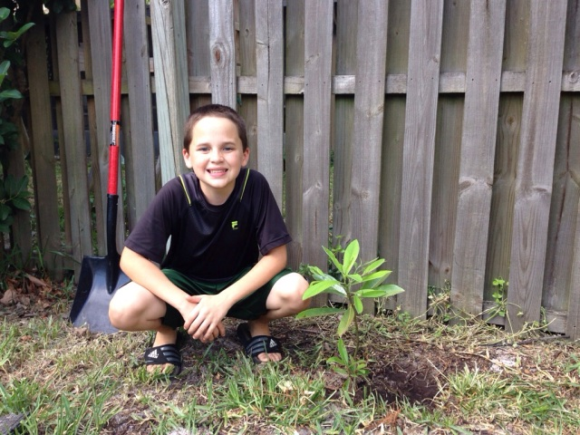 Brendan plants his Magnolia tree after the Run For The Trees 5K.