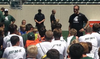 Listening to Coach Dantonio talk!