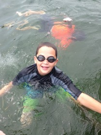 Swimming in Lake Geneva.