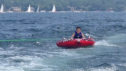 Tubing on Lake Geneva.