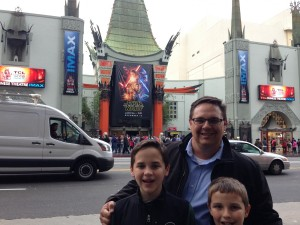 Visiting the Chinese Theater in Hollywood.